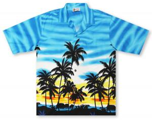 Aloha Republic Palm Sway - Blue Hawaiian Shirt